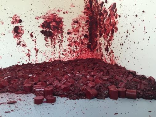 Blood-like bullets hitting at the corner