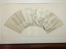 Qian Du (1763-1844), Plum blossoms, Fan, ink on gold paper, 1830