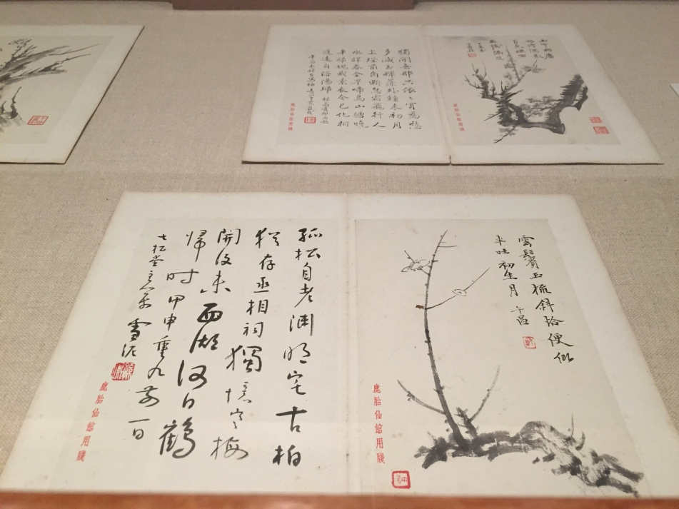 Zheng Wuchang (1894-1952), Plum blossoms, Album of 10 double leaves, ink on paper, 1937