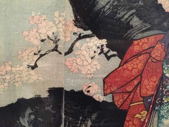 Utagawa Kuniyoshi, Cerisier en fleur à la tombée de la nuit, vers 1846 (détail)