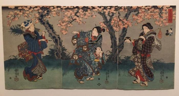 Utagawa Kuniyoshi, Cerisier en fleur le soir près du fleuve Sumida, vers 1845-1846