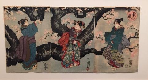 Utagawa Kuniyoshi, Cerisier en fleur à la tombée de la nuit, vers 1846